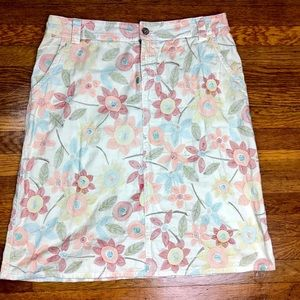 Johnny Was Khaki Boho Floral Embroidered Skirt